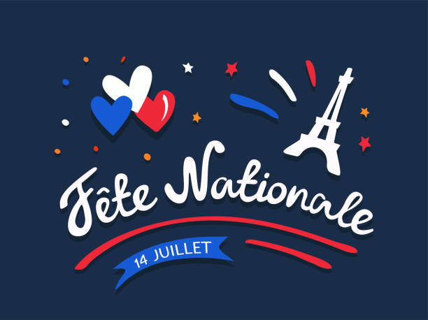 Fete nationale francaise - Celebration of Bastille Day on 14 July or French National Day. Digital draw vintage lettering with Eiffel Tower, hearts, flag colored. Illustration. greeting card, poster. french culture stock illustrations