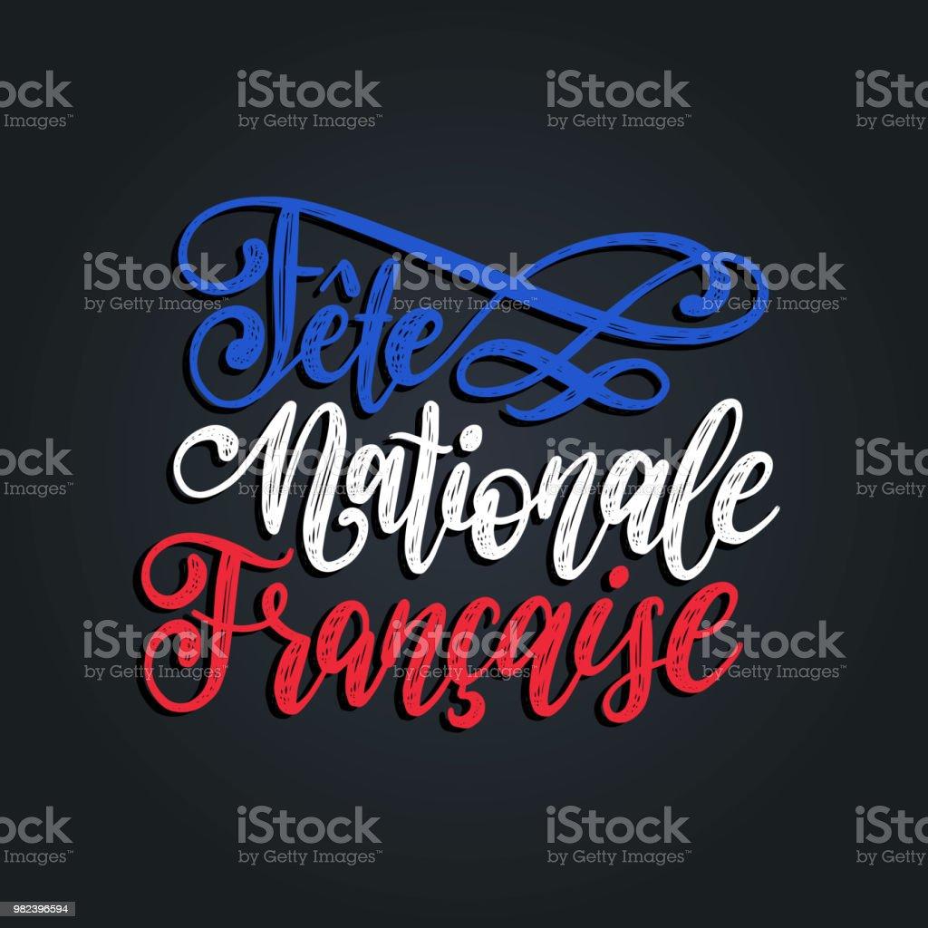 Ilustración De Fiesta Nationale Francaise Rotulación A Mano