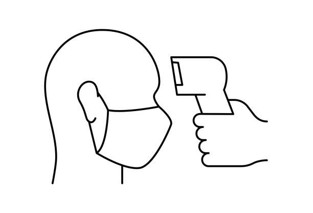 發燒檢查白色背景上的輪廓圖示向量藝術插圖