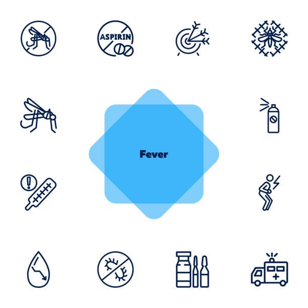 fieberliniensymbol-set - mückenfalle stock-grafiken, -clipart, -cartoons und -symbole