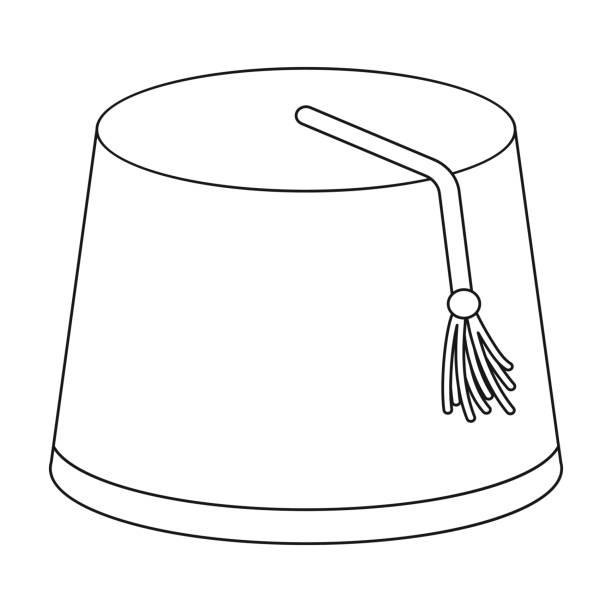 Icono de Fez en el estilo de contorno aislada sobre fondo blanco.  Ilustración de vector 2145781920b
