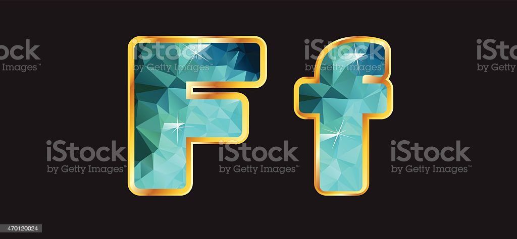Ff with Gold and Teal vector art illustration