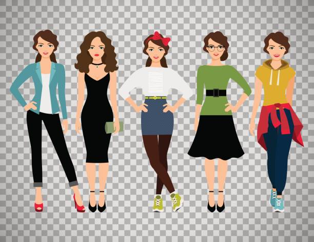 ffashion women set on transparent background - young women stock illustrations