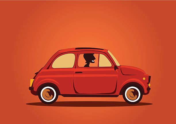 Fiat 500 Cinquecento carro com motorista - ilustração de arte em vetor
