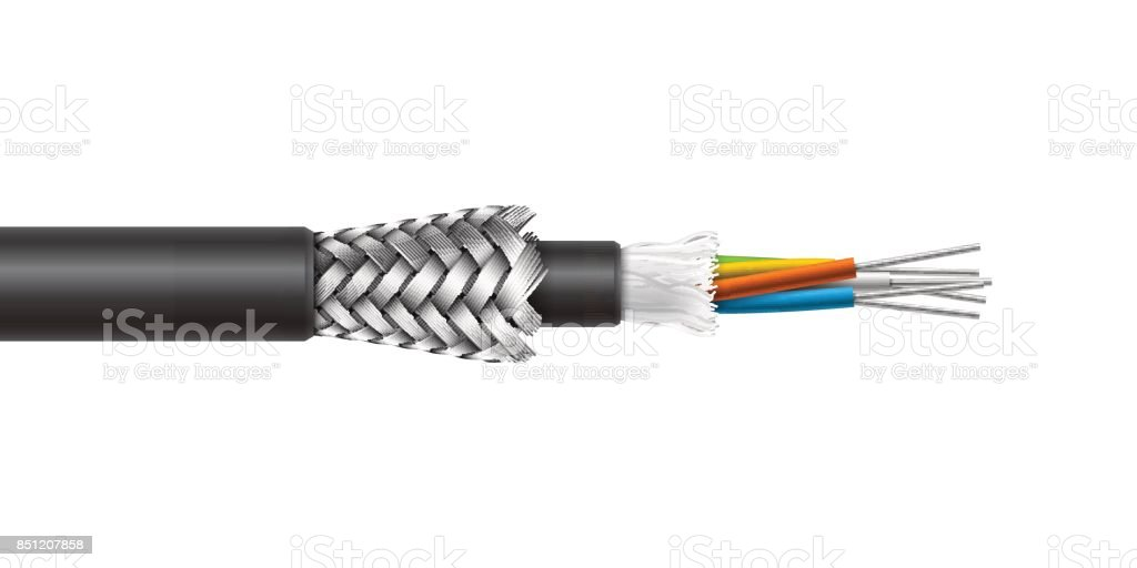 Fiber optic cable with braided armored structure. Vector realistic illustration. vector art illustration