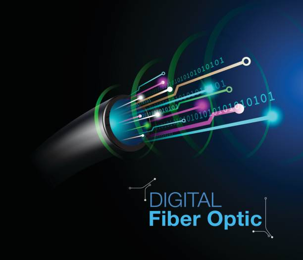 illustrations, cliparts, dessins animés et icônes de fibre optique technologie numérique - fibre