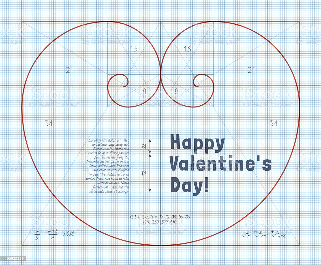 Fibonacci Heart vector art illustration