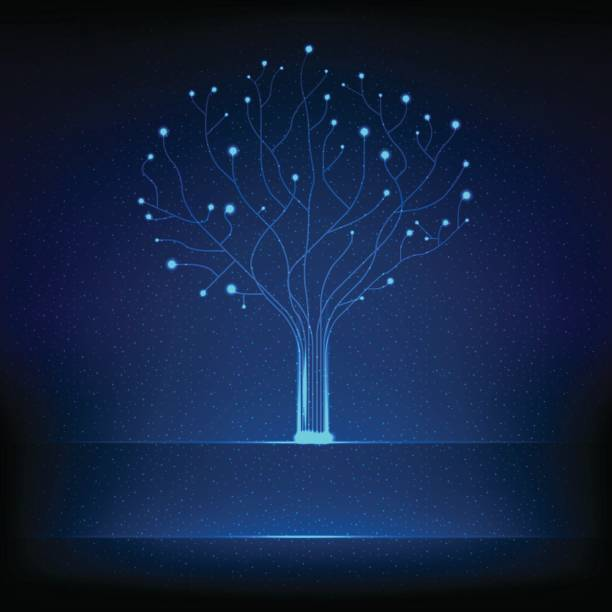 fibre optical tree - light through trees stock illustrations