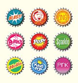 fictional retro bottle cap set for design elements, stickers, print materials, magnets, scrapbooking.