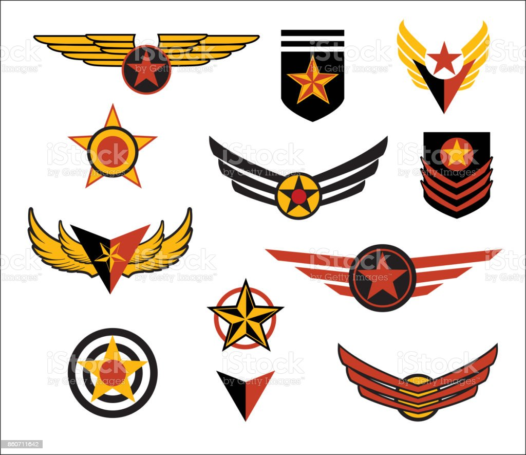 Fictional military style emblems, wings and patches. Vector illustration.