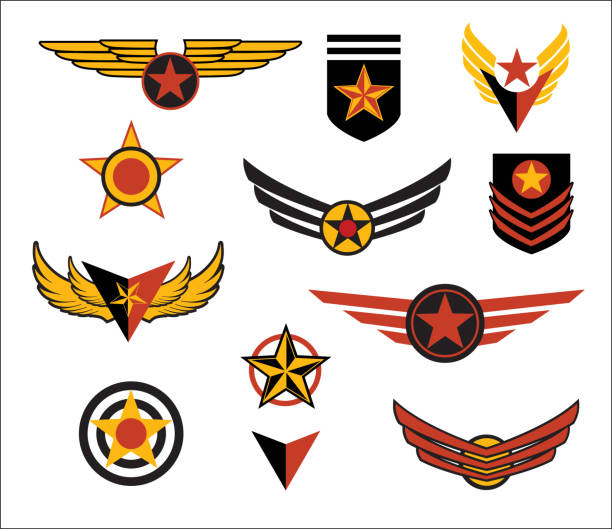 Fictional military style emblems, wings and patches. Vector illustration. Fictional military style emblems, wings and patches. Vector illustration. air force stock illustrations
