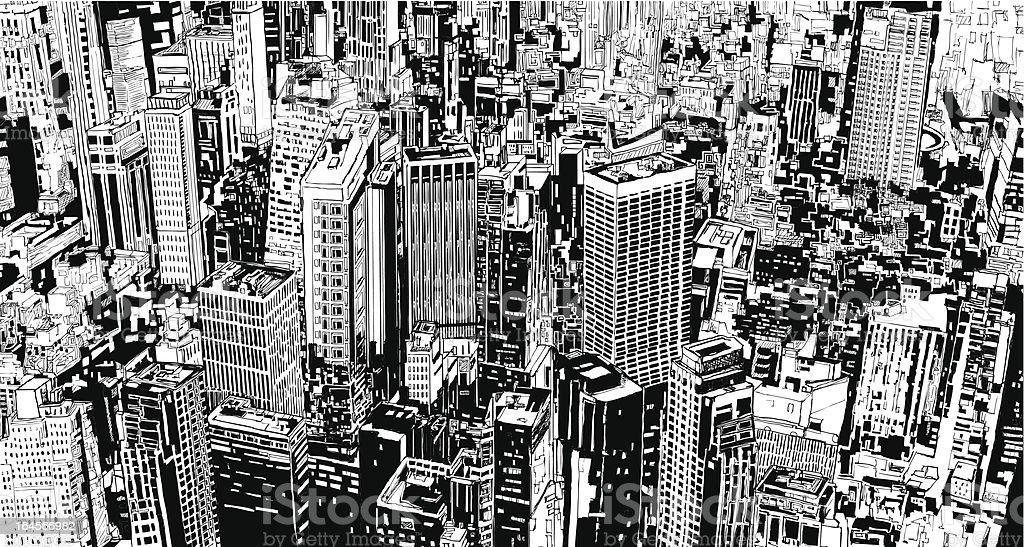 架空の街モダンな高層ビル群や Street イラストレーションのベクター