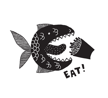 A fictional monster fish with an open mouth and tongue. Box of fries in your mouth. Phrase Eat. Conceptual design for t-shirts and other merch. Black and white illustration.