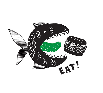 A fictional monster fish with an open mouth and tongue. Burger in its mouth. Phrase Eat. Conceptual design for t-shirts and other merch. Black and white illustration.