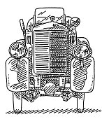 Fictional Oldtimer Front View Drawing