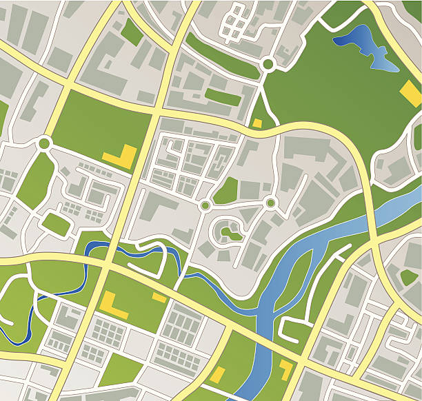 Fictional Town Map vector art illustration