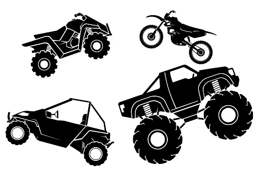 Fictional Toy Off Road Vehicle Set, Silhouette Illustration