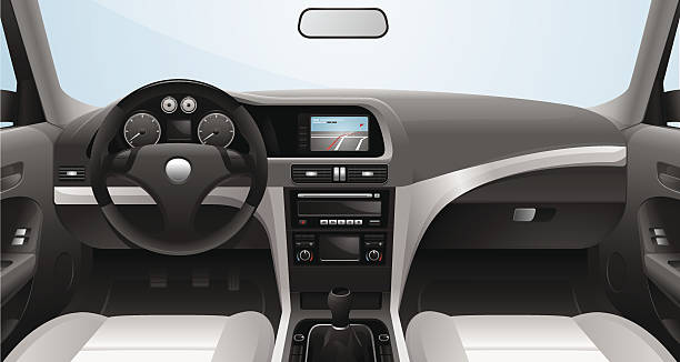 stockillustraties, clipart, cartoons en iconen met fictional vector car cockpit - auto interieur