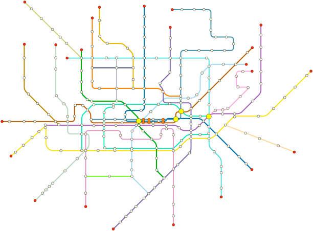 illustrations, cliparts, dessins animés et icônes de plan de métro de vecteur fictif - métro
