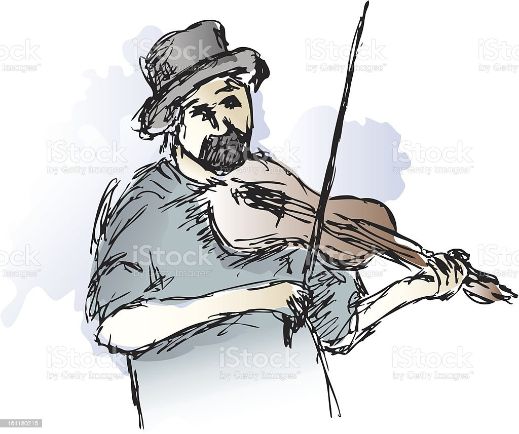 Fiddler in Watercolor vector art illustration