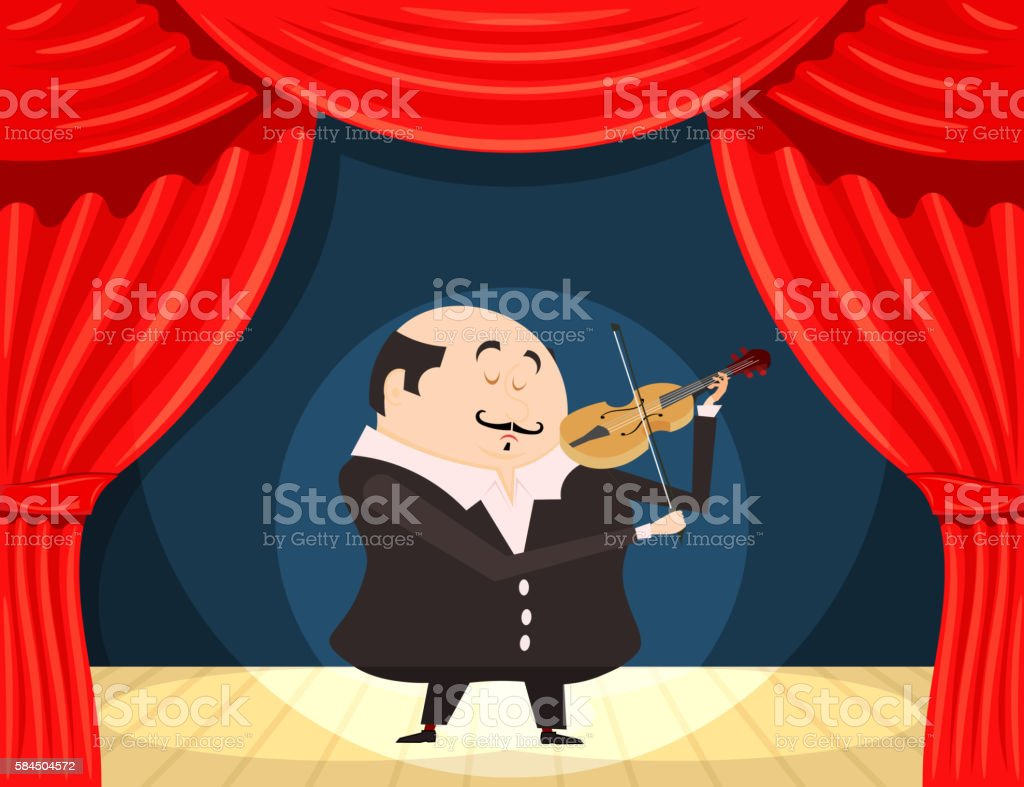 Fiddler on the scene. Vector illustration violinist stage vector art illustration