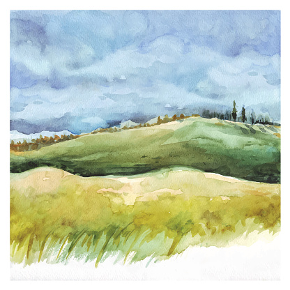 Watercolor Nature background. Field and forest, summer landscape. Hand drawn painting.