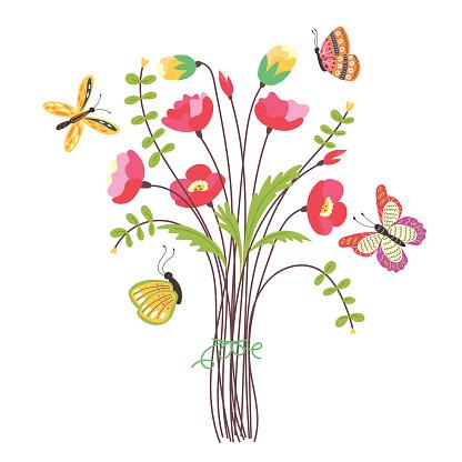Field bouquet with flying butterflies