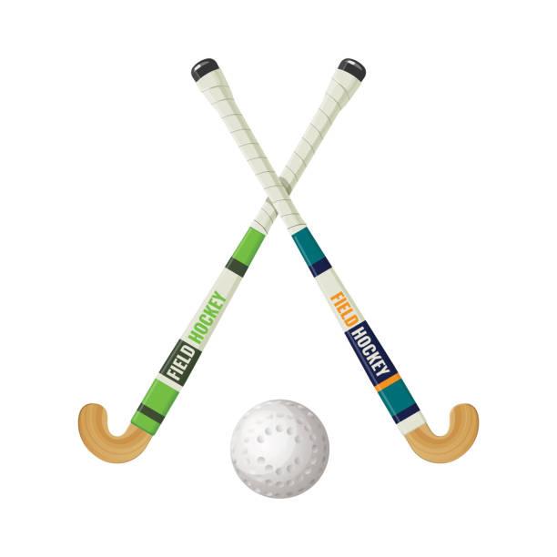 fangen sie hockeyausrüstung und kleine kugel vektor-illustration - feststecken stock-grafiken, -clipart, -cartoons und -symbole