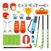 Field Hockey Icons Set Vector. Field Hockey Accessories. Ball, Helmet, Protection, Stick, Cup Isolated Cartoon Illustration