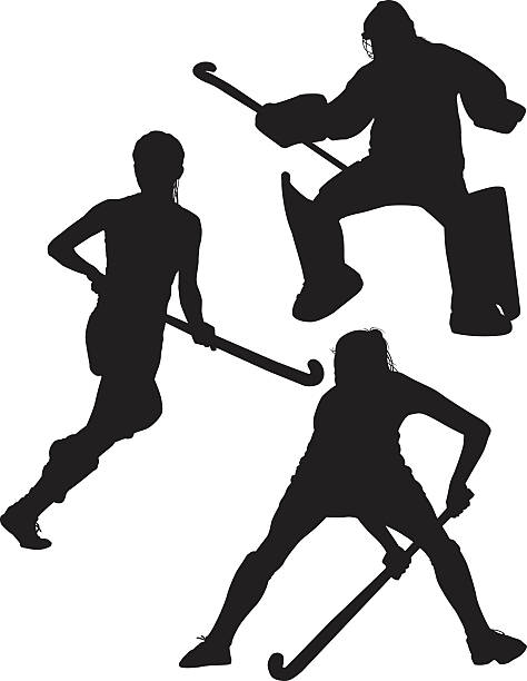field hockey silhouetten - hockey stock-grafiken, -clipart, -cartoons und -symbole