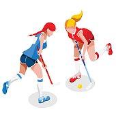 Field Hockey Girl Player  Summer Games Icon Set.3D Isometric Field Hockey.Sporting Championship International Female Field Hockey Competition.Sport Infographic Field Hockey Vector Illustration