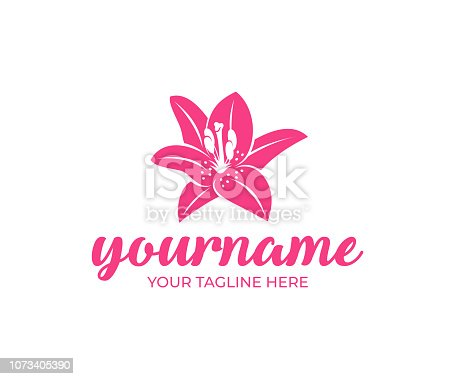 Field lily, flower, fashion, spa and beauty salon, design. Nature, plant, bloom and flora, vector design and illustration