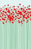 An original artwork vector illustration of a field of scarlet poppies in early spring. Springtime flowers with tall green stems on a light-blue background. Vertical portrait composition, that may serve as postcard, flyer, poster, invitation, wallpaper, shop window that brings freshness, Remembrance, Day, commemoration, Easter, peace, freedom, love, XOXO.