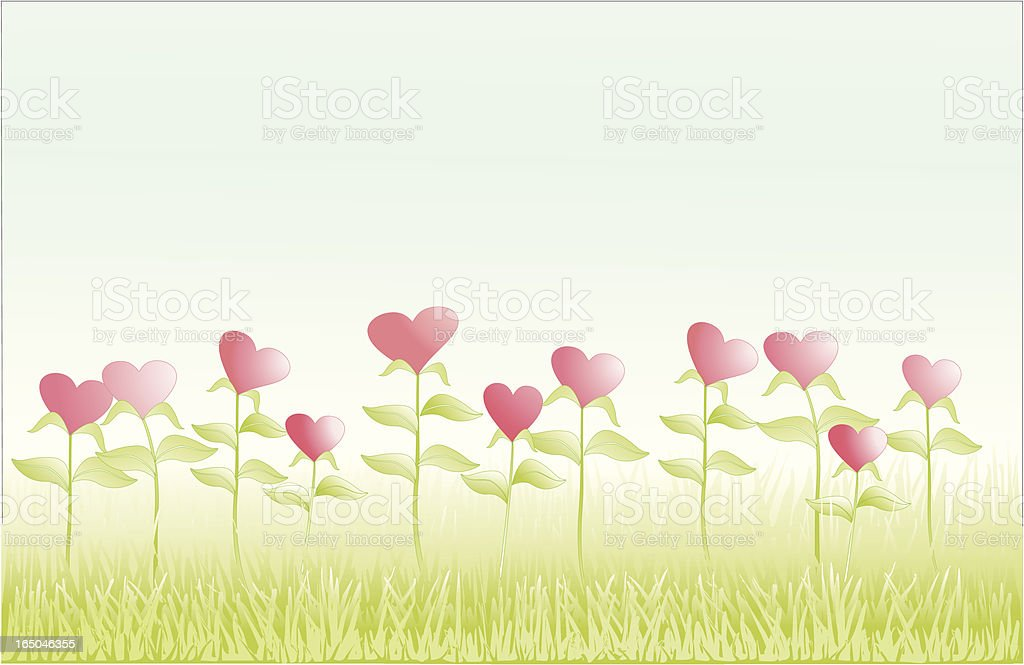 Field of Hearts vector art illustration