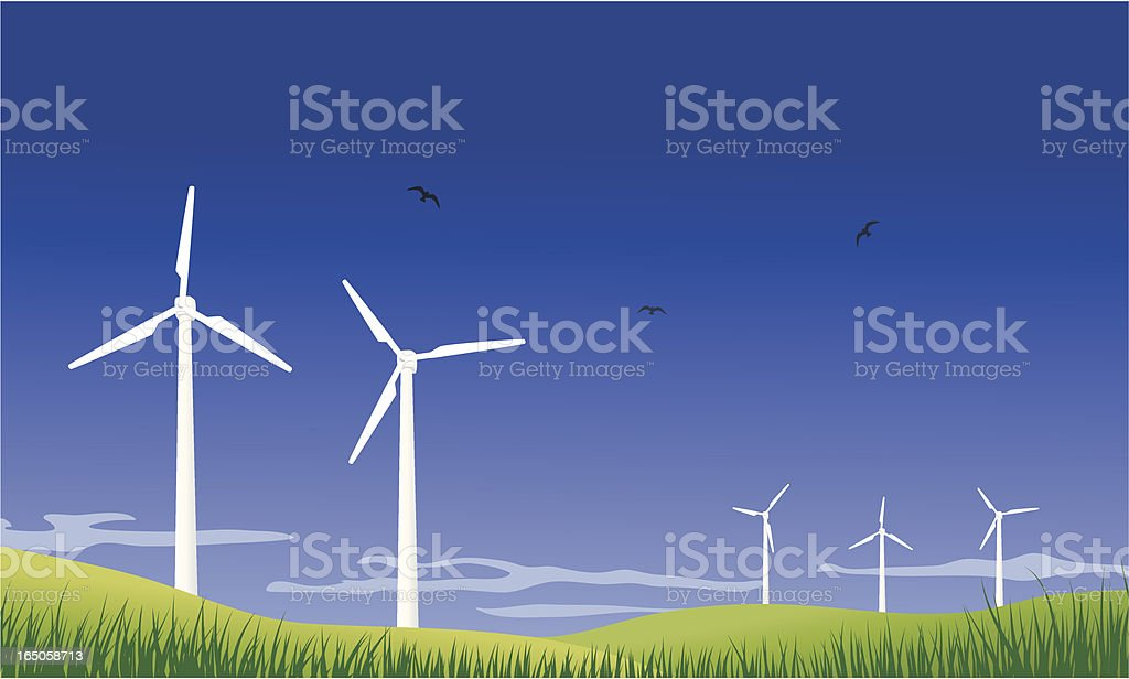 A field of wind turbines spinning around royalty-free stock vector art