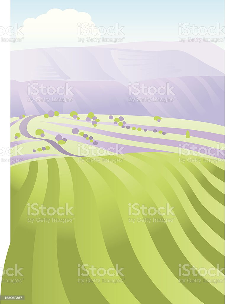 Field Plain and Mountain royalty-free stock vector art