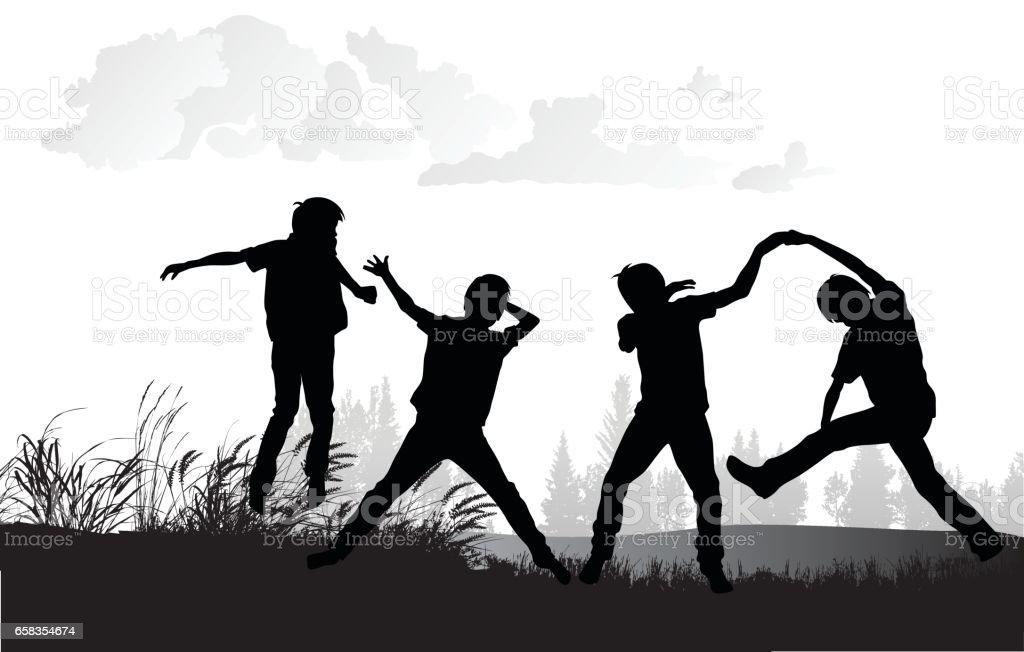 Field Play vector art illustration