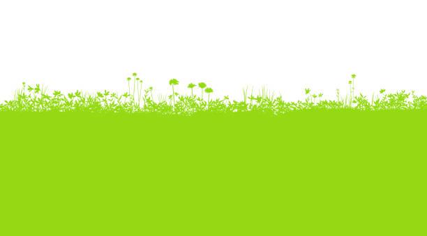 フィールドシルエット背景素材、開花植物 - 草原点のイラスト素材/クリップアート素材/マンガ素材/アイコン素材