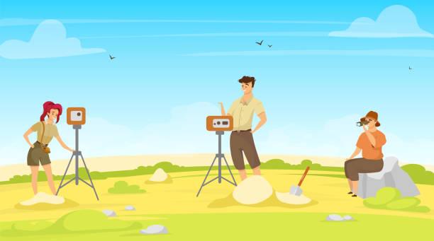 feldvermessung flache vektor-illustration. studiengruppe, explorationsteam. vor ort forschung mit ausrüstung. frau und mann profis, geodäsie-ausnahme. bodenuntersuchung. wissenschaftler zeichentrickfiguren - aerial overview soil stock-grafiken, -clipart, -cartoons und -symbole