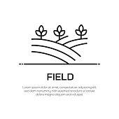 Field Vector Line Icon - Simple Thin Line Icon, Premium Quality Design Element
