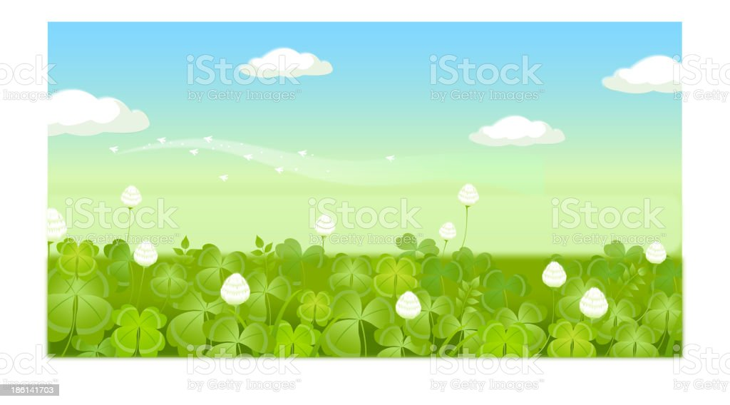 Field with clouded sky vector art illustration