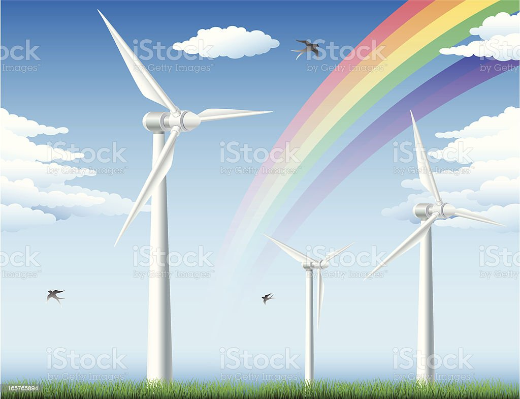 Field with Wind turbines royalty-free stock vector art