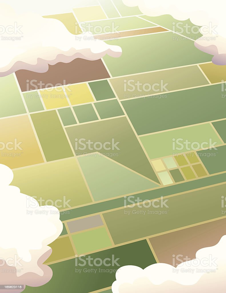 Fields - Aerial View royalty-free stock vector art