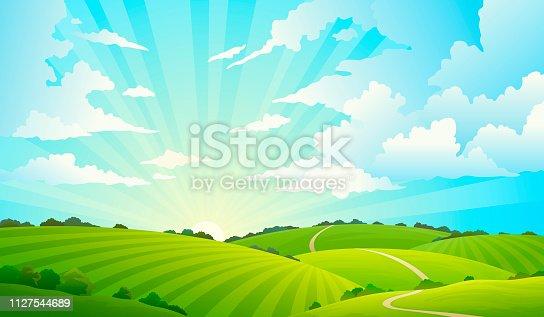 istock Fields landscape. Scenic green hills nature sky horizon meadow grass field rural land agriculture grassland 1127544689