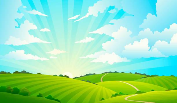 田野景觀。風景秀麗的青山自然天空地平線草甸草田農村土地農業草原 - 橫向 幅插畫檔、美工圖案、卡通及圖標