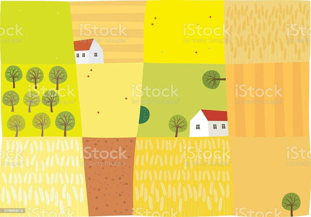 Fields to harvest vector art illustration