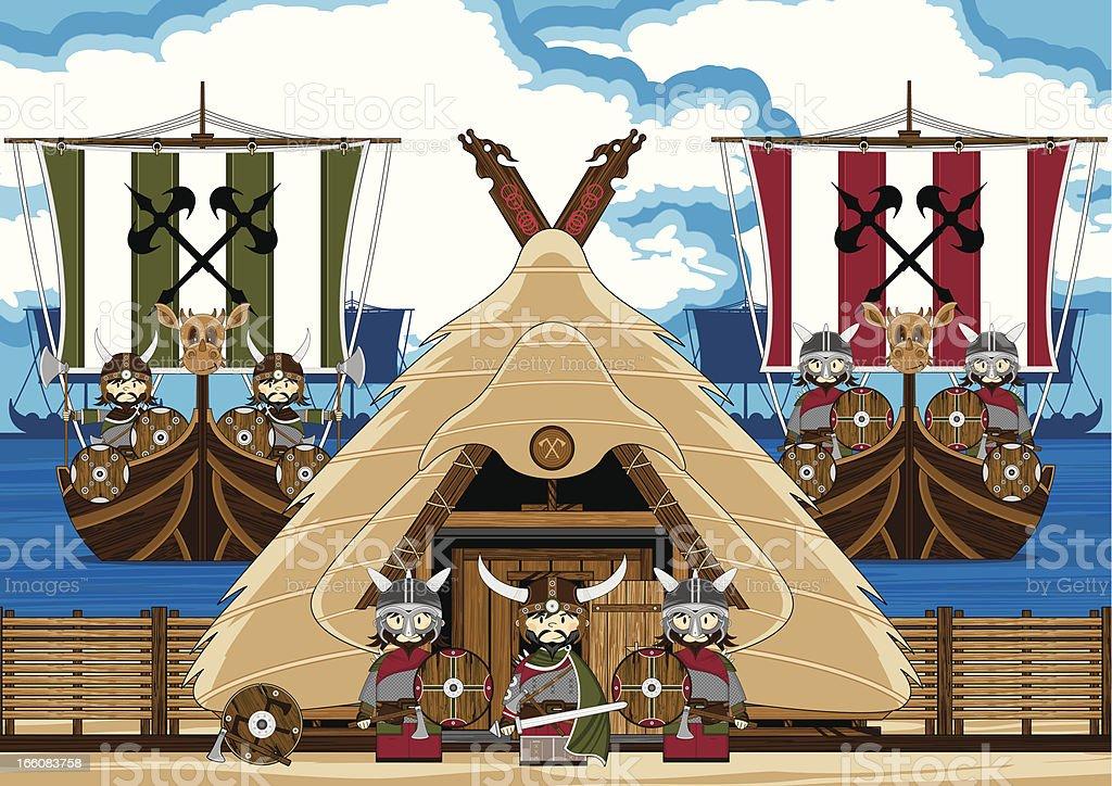 Fierce Viking Warriors and Ships Scene royalty-free stock vector art