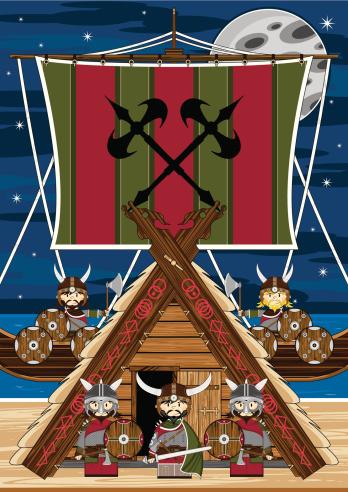 Fierce Viking Warriors Ship Scene Stock Illustration ...