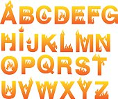 Fire inspired design vector fonts. Complete set of alphabets in uppercase isolated on white background.