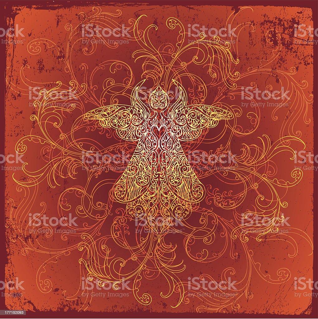 fiery angel vector art illustration